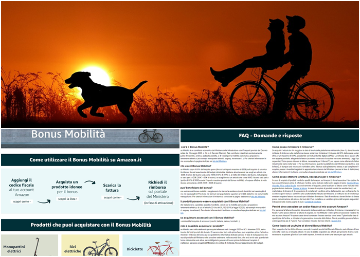 bonus mobilità per bici Amazon page